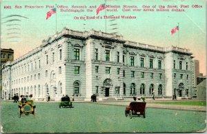 Vtg Postcard 1911 San Francisco, CA Post Office Street View w Cars