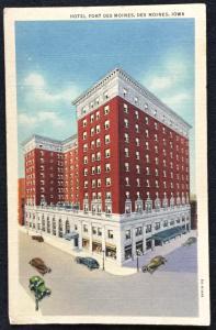 Postcard Linen Unused Hotel Ft Des Moines DSM Iowa LB