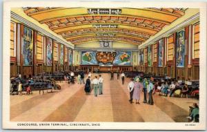 Cincinnati, Ohio Postcard Concourse, UNION TERMINAL Murals View Linen 1940s