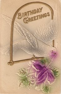 Dove carrying a rose  Vintage German EasterBerthday Greeting PC. Embossed
