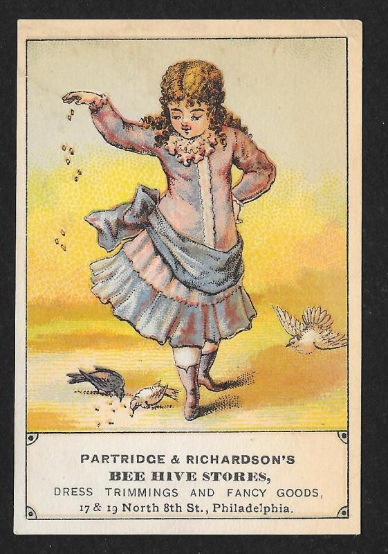 VICTORIAN TRADE CARD Bee Hive Store Dress Trimming