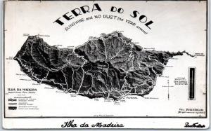 Madeira, Portugal Postcard TERRA DEL SOL Island Map RPPC w/ 1938 Cancel