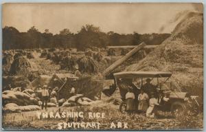 STUTTGART AR THRESHING RICE ANTIQUE REAL PHOTO POSTCARD RPPC PHOTOMONTAGE FARM