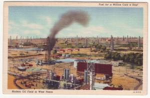 P400 JL old linen postcard west texas oil fields