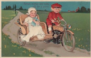 PFB 7318, PU-1907; Children on motorcycle with side car, Doll