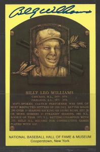Billy Williams Autograph on HOF Plaque