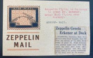 Mint Original USA LZ127 Graf Zeppelin Mail Postcard DR Eckener 1928 Roessler
