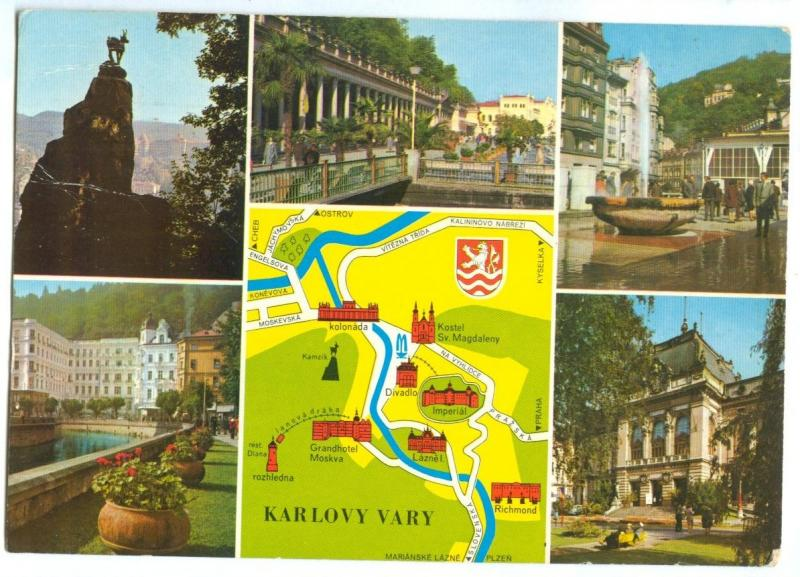 Czech Republic, KARLOVY VARY, multi view and map, used Postcard