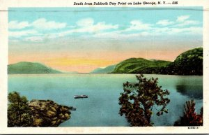 New York Lake George Looking South From Sabbath Day Point 1946 Curteich