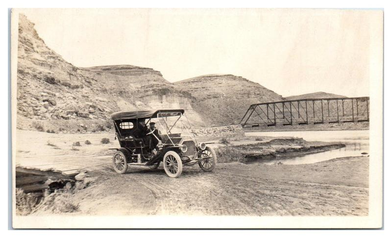 RPPC Early Auto Crossing Gunnison River between Delta and Hotchkiss, CO Postcard