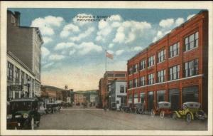 Providence RI Fountain St. Old Cars c1920 Postcard