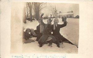 G2/ Interesting RPPC Postcard c1910 Canton Pennsyvania Church Kids Snow 15