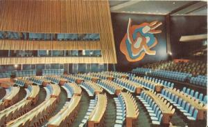 United Nations, General Assembly 1950s unused chrome Post...