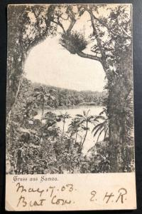 Original 1910s German Samoa Real Picture Postcard Cover To Yorkshire England