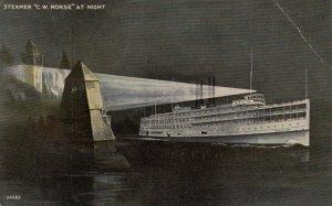 Steamer C.W. MORSE at night , 1910