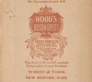 Wood's Boston Coffee Wright Tabor Massachusetts Washington Statue Trade Card