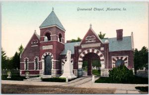Muscatine, Iowa Postcard GREENWOOD CHAPEL Street View Hand-Colored Germany 1910s