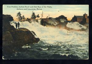 Auburn/Lewiston, Maine/ME Postcard, Indian Head & Old Man Of The Falls