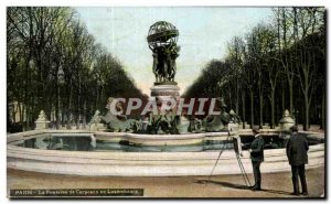 Old Postcard Paris Fountain Carpeaux in Luxembourg