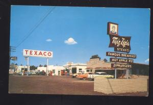 FLAGSTAFF ARIZONA MIZ ZIP'S RESTAURANT ROUTE 66 GAS STATION VINTAGE POSTCARD