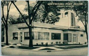 Pontiac, Illinois Postcard GREYHOUND POST HOUSE Bus Depot / Restaurant c1940s