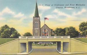 North Carolina Henderson View Of Underpass and First Methodist Church