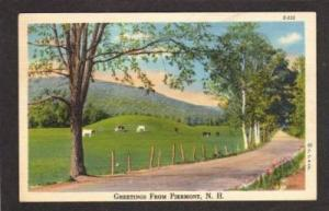 NH Greetings from PIERMONT NEW HAMPSHIRE Linen PC Cows