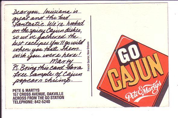 Pete & Marty's, Go Cajun Restaurant, Oakville Louisiana, Advertising
