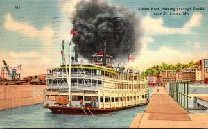 Missouri St Louis Steam Boat Passing Through Locks 1949