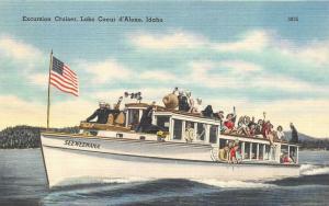 ID, Idaho CROWD~EXCURSION CRUISER SEEWEEWANA~Lake Coeur d'Alene c1940's Postcard