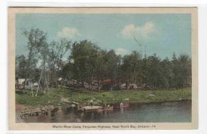 Martin River Camp Ferguson Highway North Bay Ontario Canada postcard