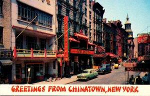 New York City Greetings From Chinatown Showing Mott Street