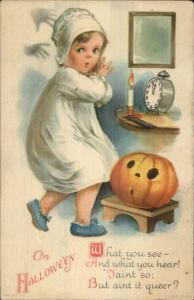 Halloween Scared Little Girl Hands JOL Clock Unsigned Clapsaddle Postcard