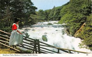 North Wales Swallow Falls, Bettws-Y-Coed, woman costume, waterfall
