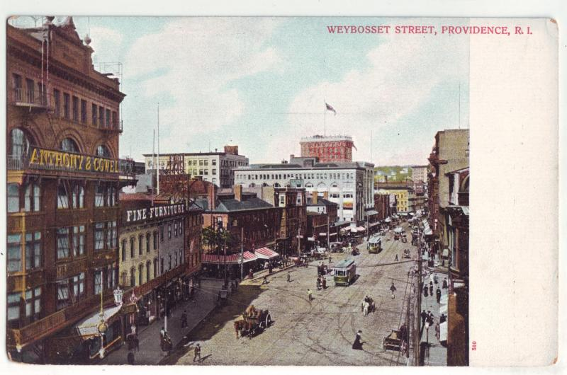 P1060 old weybosset street trollies horses people signs etc providence R.I.