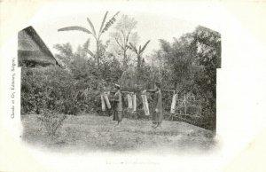 PC CPA LAOS, INDOCHINA, PORTEUSES D'EAU, (b23418)