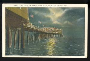 Old Orchard Beach, Maine/ME Postcard, Surf & Pier By Moonlight