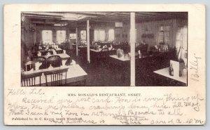 Onset Massachusetts~Mrs Ronald's Restaurant Interior~1907 B&W Postcard