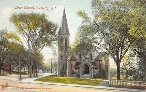 Westerly Rhode Island~Christ Church Framed by Trees on Elm St @ Broad~1911