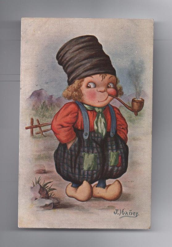 ART POSTCARD 1940years HOLLAND NETHERLANDS comic DUTCH BOY tobacco pipe Z1