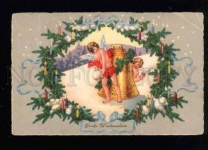 041162 Semi-NUDE Winged ANGELS w/ X-MAS BELL Vintage PC