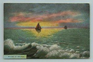 Sailing Twilight, Man, Woman, Sunset, Sailboat, Love, Ocean, California Postcard