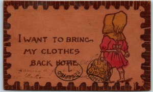 Vintage1906  LEATHER Postcard Dutch Girl I Want to Bring My Clothes Back Home