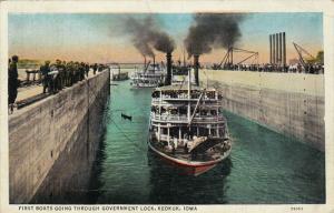 First Boats Going Through Government Lock, KEOKUK, Iowa, PU-1939