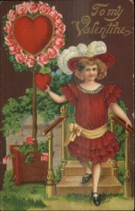 Valentine - Little Girl in Red Dress c1910 Embossed Postcard
