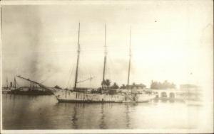 Miami or Cuba? Sailing Ship in Harbor Arched Bridge c1915 Real Photo Postcard