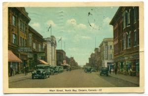 Main Street Scene North Bay Ontario Canada 1936 postcard
