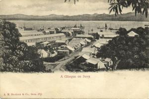 fiji islands, SUVA, Glimpse of the Town (1908) A.M. Brodziak, Stamp