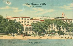 Buena Vista, Biloxi Mississippi MS Old Cars, Swimmers on Beach Linen Postcard