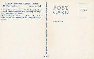 VANCOUVER , B.C., 40-60s; Mahew-Sherwood Flower shop at night